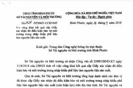 Sở TN&MT tỉnh Bình Phước: Công khai kết quả cấp Giấy xác nhận đủ điều kiện bảo vệ môi trường trong nhập khẩu phế liệu làm nguyên liệu sản xuất